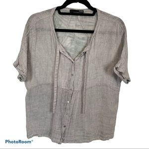 Eileen Fisher gauzey linen button down shirt L